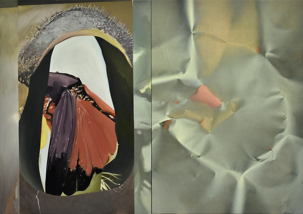 El paciente inseticida, 2018. Acrílico sobre lienzo e impresión fotográfica, 135 x 190 cm.